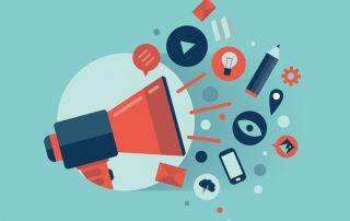 ilustração-de-megafone-com-uma-nuvem-de-ícones-de-aplicações-coloridas-no-tema mídia-Conceito-de-marketing-digital-Isolado-no-fundo-elegante-turquesa
