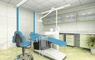 Interior-do-gabinete-odontológico-moderno-cama-cadeira-e-instrumentos-odontológicos-azul-piso-e-mobilia-verde-claro